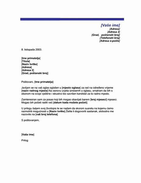 Popratno pismo za honorarni posao (tema s plavom bojom)