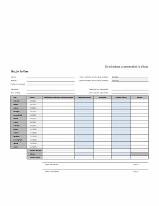 Dvotjedna vremenska tablica s bolovanjem i godišnjim odmorom