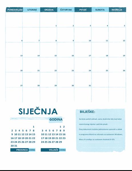 Akademski kalendar (jedan mjesec, bilo koja godina, početak tjedna od ponedjeljak)