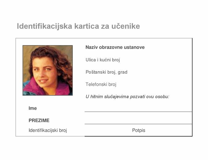 Identifikacijska kartica za učenike