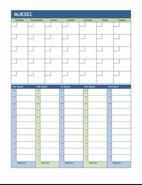 Mjesečni i tjedni kalendar planiranja