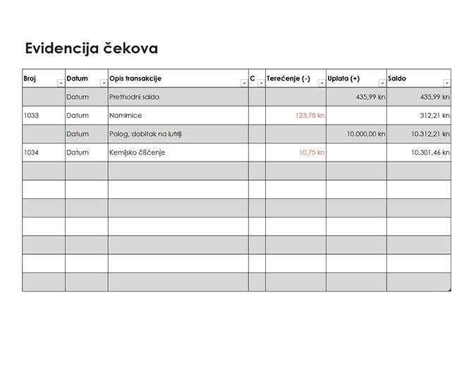 Evidencija čekova (jednostavna)
