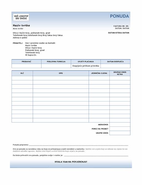 Ponuda za uslugu (dizajn s plavim prijelazom)