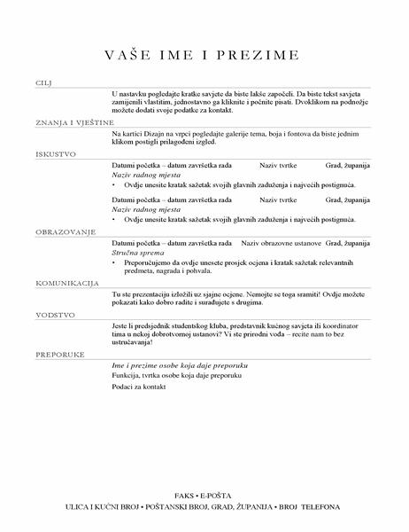 Životopis za voditelja prodaje (elegantan)