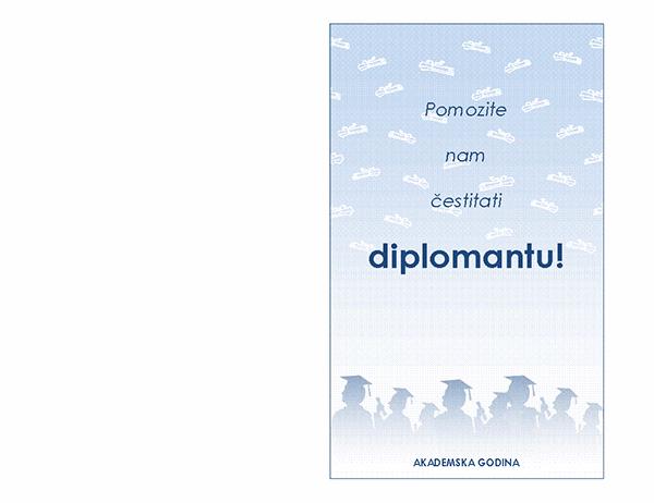 Pozivnica na zabavu povodom diplome (Dizajn za zabavu povodom diplome s presavijanjem napola)