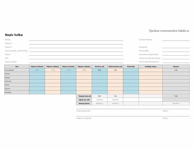 Tjedna vremenska tablica radnog vremena ( 8 1/2 x 11, vodoravno usmjerenje)