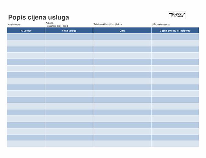 Popis usluga prema cjeniku