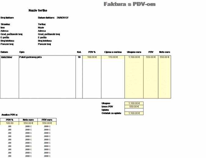 Faktura s PDV-om - cijena s uključenim porezom