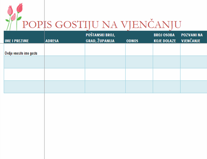 Popis gostiju na vjenčanju (s tulipanima)