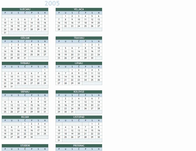 Godišnji kalendar za godinu 2005.-2014. (pon-ned)