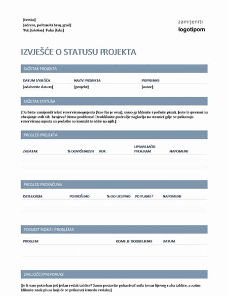 Izvješće o statusu projekta