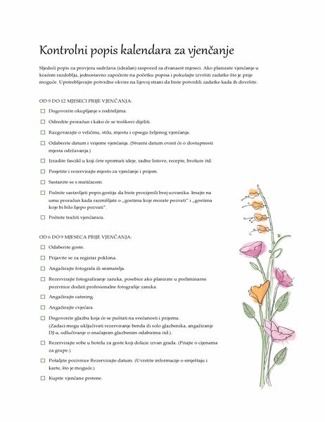 Popis za provjeru za vjenčanje (vodene boje)