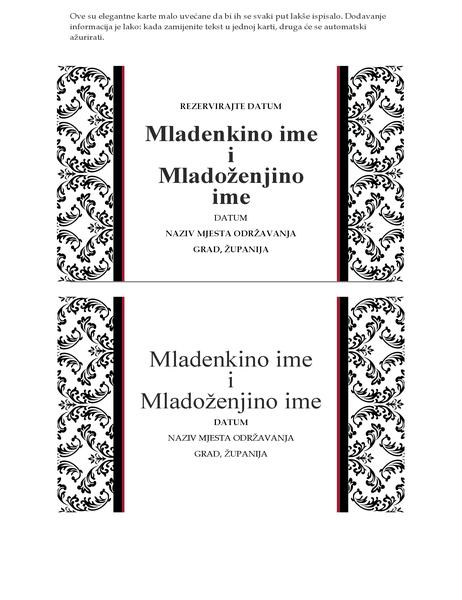 Kartica za rezerviranje datuma vjenčanja (crno-bijeli dizajn za vjenčanja)
