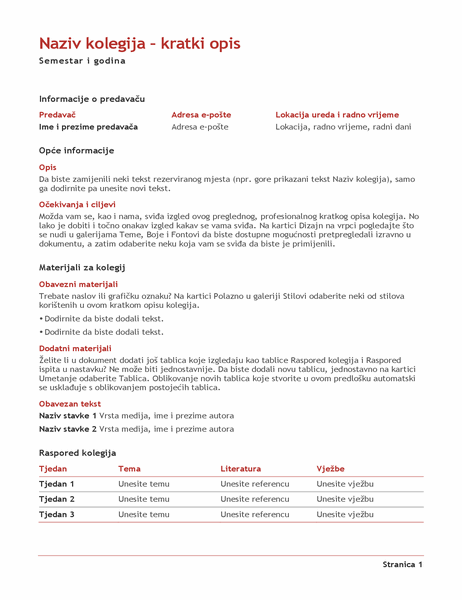 Kratki opis kolegija za profesore (u boji)