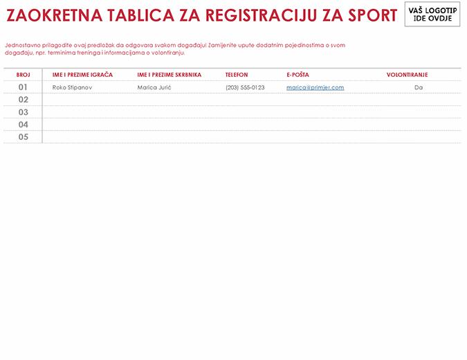 List za registraciju za sport