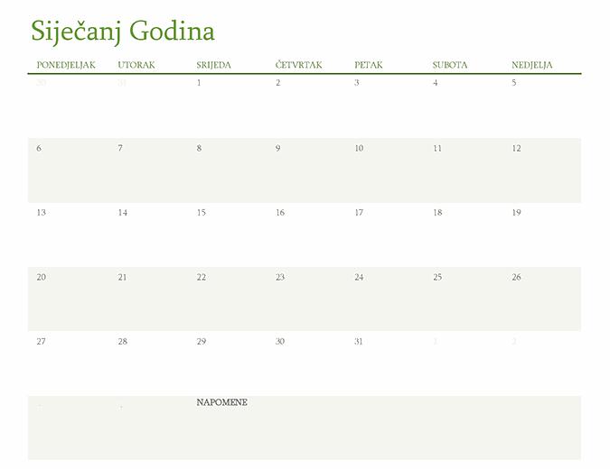 Kalendar za bilo koju godinu (1 mjesec po kartici)