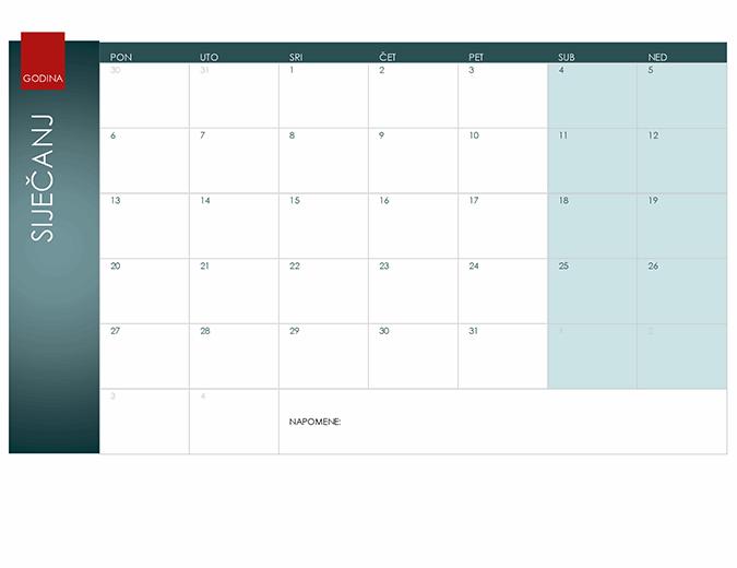 Kalendar za bilo koju godinu (tema Ion)