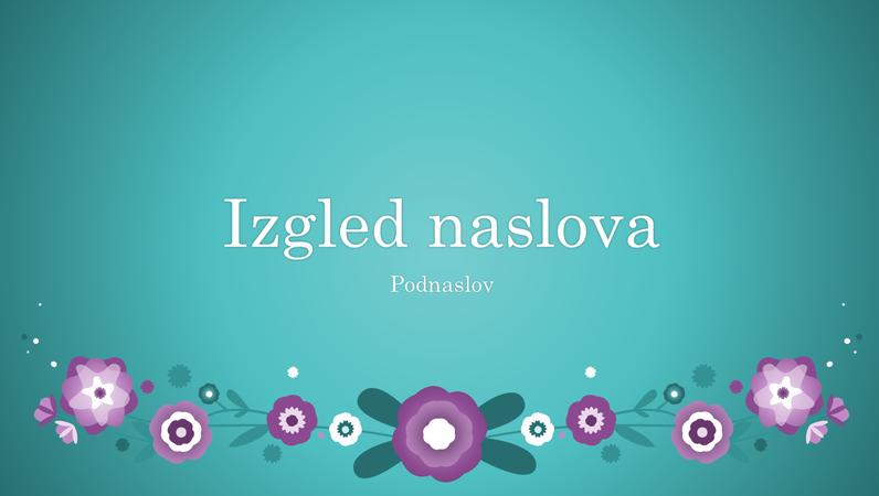 Ljubičasto cvijeće na plavoj pozadini (široki zaslon)