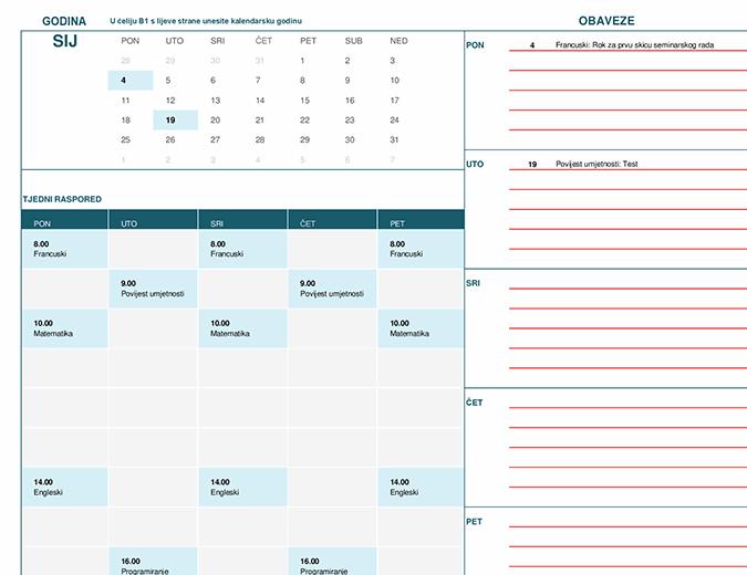 Kalendar za učenike i studente (pon)