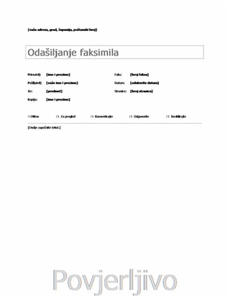 Osnovna naslovnica faksa