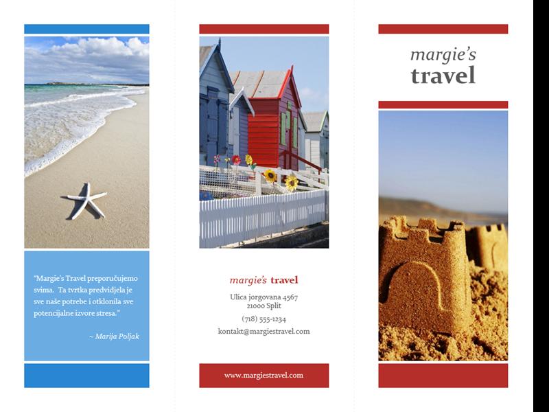 Turistička brošura s tri preklopa (dizajn s crvenom, zlatnom i plavom bojom)