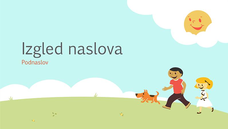 Obrazovna prezentacija s motivom zaigrane djece (strip-ilustracija, široki zaslon)