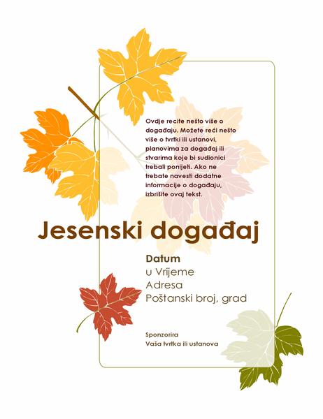 Letak za događaj s temom jeseni (s lišćem)