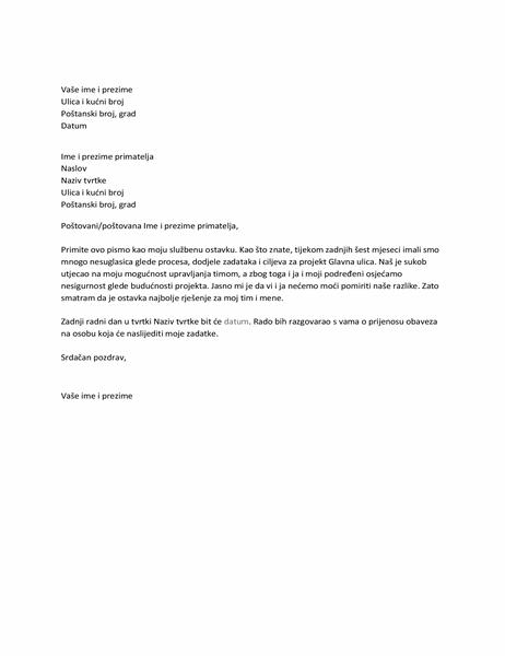 Pismo s ostavkom zbog nesuglasica s nadređenim