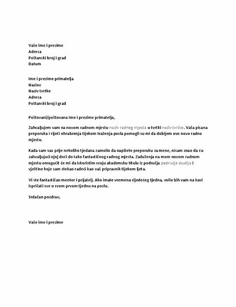 Pismo zahvale za uspješnu preporuku za posao od bivšeg šefa