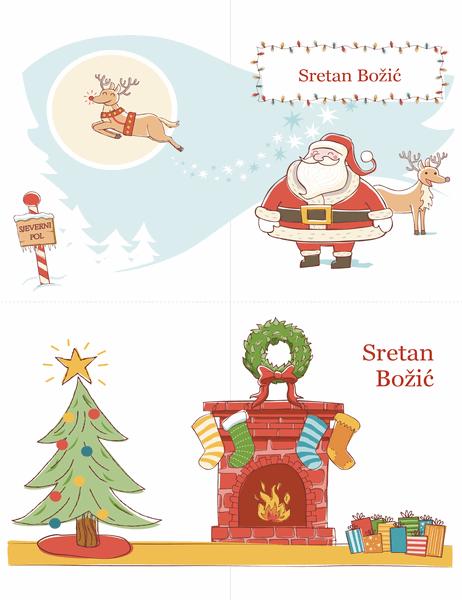 Božićne čestitke (dizajn Božićni duh, 2 po stranici)