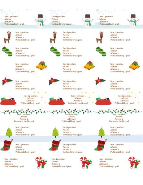 Naljepnice s darovnim oznakama (dizajn Božićni duh, 30 po stranici, funkcionira s papirom Avery 5160)