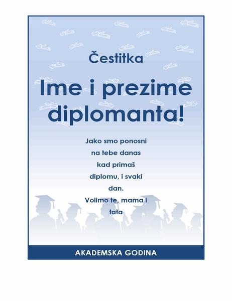 Letak za čestitanje diplomantu (Dizajn Proslava diplome)