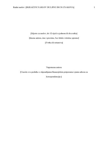 Izvješće u stilu APA (šesto izdanje)