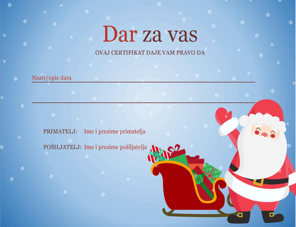 Božićni poklon bon (dizajn Božićni duh)