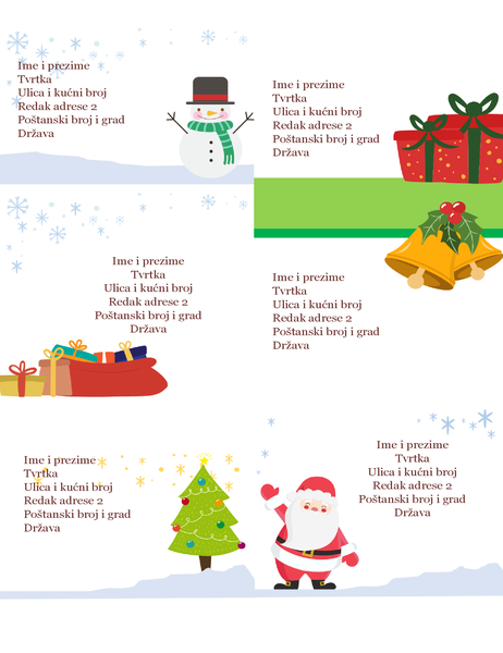 Naljepnice za praznične pošiljke (dizajn Božićni duh, 6 po stranici, funkcionira s papirom Avery 5164 i sličnima)