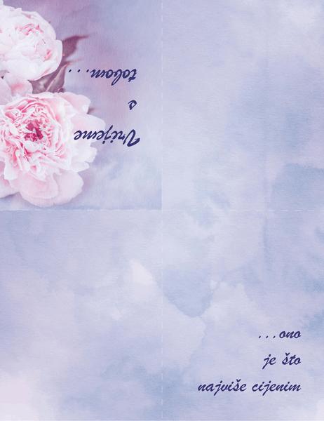 Romantična čestitka (s ružom, presavija se dvaput)