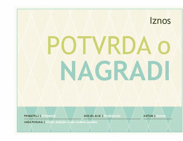 Nagrada u obliku poklon-bona (dizajn harlekina)