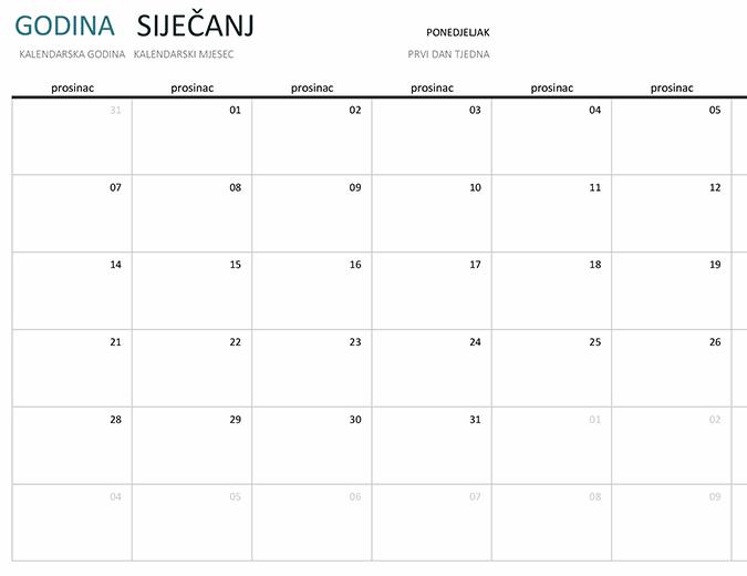 Jednomjesečni kalendar za bilo koju godinu