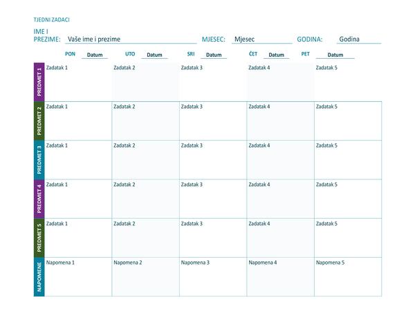List s tjednim rasporedom zadataka (u boji, vodoravno usmjerenje)
