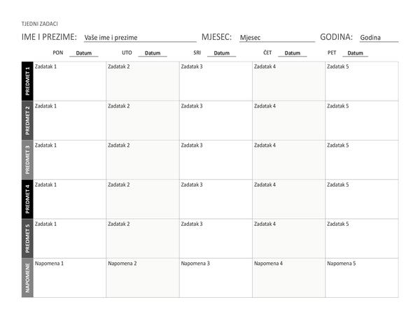 List s tjednim rasporedom zadataka (vodoravno usmjerenje)