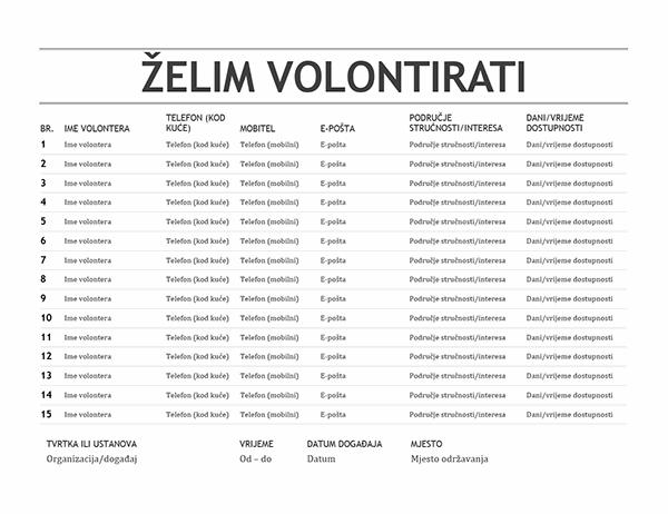 Popis volontera