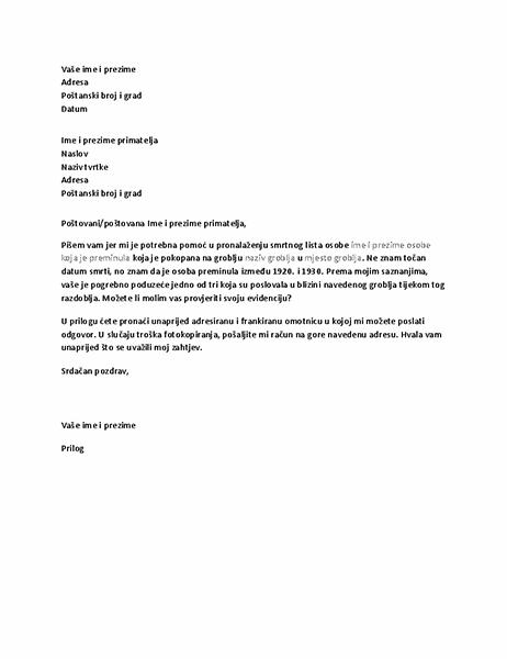 Pismo sa zahtjevom za rodoslovnim zapisima upućeno pogrebnom poduzeću