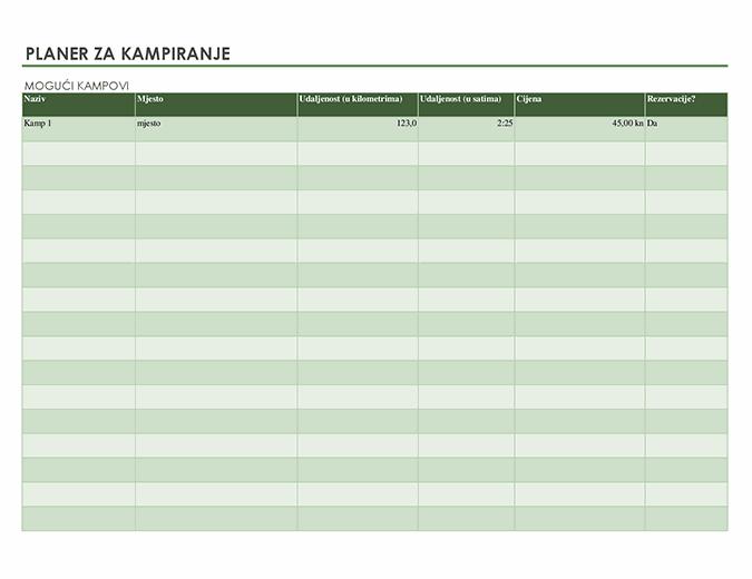 Planer za kampiranje