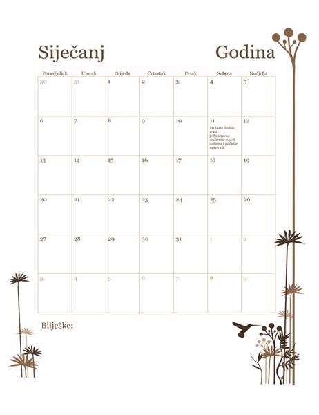 12-mjesečni kalendar s temom kolibrija (pon. – ned.)