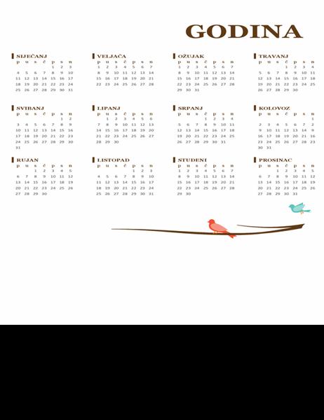 Godišnji kalendar s temom ptica (pon – ned)