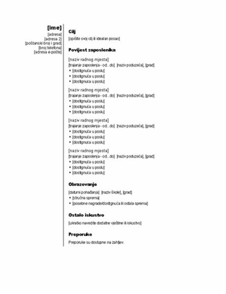 Kronološki životopis (okomita tema)