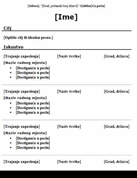 Kronološki životopis (tradicionalni dizajn)