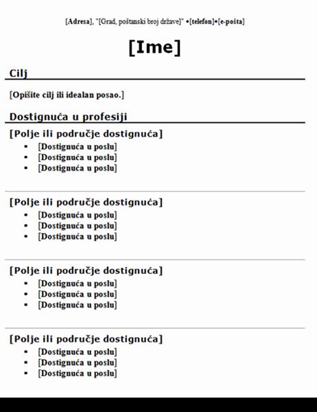 Funkcionalni životopis (tradicionalni dizajn)