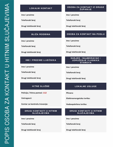 Popis osoba za kontakt u hitnim slučajevima