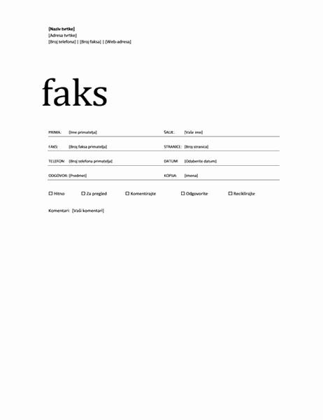 Naslovnica faksa (profesionalna tema)